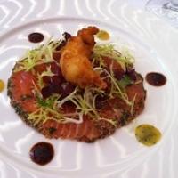 """Prachtig voorgerecht bij Old Dutch.Huisgerookte zalm met rauwe tonijn en een gebakken gamba. Eenvoudig maar wat heerlijk en hoog op smaak. Een glaasje Meursault van Dupont-Fahn erbij en onze zomeravond kan niet meer stuk. Terrasgenoegens! • <a style=""""font-size:0.8em;"""" href=""""http://www.flickr.com/photos/88422686@N06/14742957225/"""" target=""""_blank"""">View on Flickr</a>"""